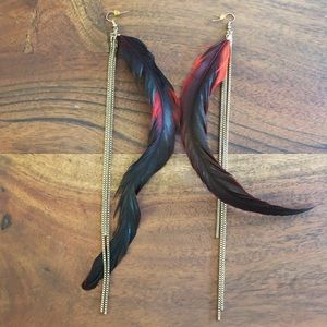 Long gold strand & red/black feather drop earrings